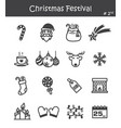 christmas festival icon set 2 vector image
