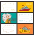 Colorful card cute girl and ships vector image vector image