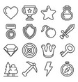 computer games icons set on white background line vector image
