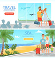 family goes at vacations peoples at airport vector image