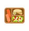 flat icon of brown tray with tasty food vector image vector image