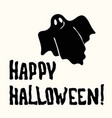happy halloween title and ghost on the white vector image vector image