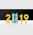 happy new year card 3d gift box ribbon bow gold vector image vector image