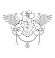 heart roses and wings outline coloring vector image vector image