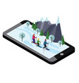 isometric happy family skiing mobile navigation vector image