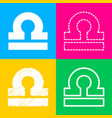 libra sign four styles of icon on vector image