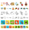 logistics and delivery cartoon icons in set vector image vector image