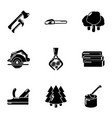 lumberman icons set simple style vector image vector image