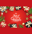 merry christmas greeting card frame on red vector image vector image