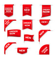 order now red banners web design elements set vector image