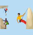 rock climbers in protective helmet climb a vector image vector image