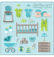Set of baby boy icons vector image vector image