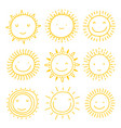 set sun icons collection suns vector image