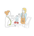shopper used eco bag for shopping in supermarket vector image vector image