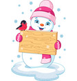 snowman and bullfinch vector image vector image