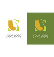 square green leaf logo vector image