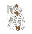 steampunk girl holding a coffee pot vector image