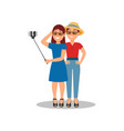 two young girls making selfie for social media vector image vector image