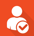 User icon with checkmark - select a friend vector image vector image
