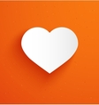 White paper heart on orange background vector image vector image