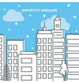 Winter city card template in thin line