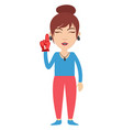 woman with red glove on white background vector image vector image