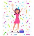 woman with sparkler confetti and tinsel gift box vector image vector image
