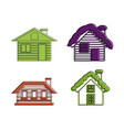 wood house icon set color outline style vector image vector image