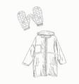 set winter clothing sketch vector image