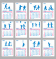 2020 calendar with blue silhouettes children vector image vector image