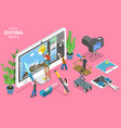 3d isometric flat concept photo editing vector image vector image