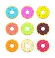 abstract donuts illustration set in flat vector image vector image