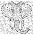 adult coloring bookpage a head elephant on the vector image vector image