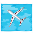 Aerial view of airplane flying over the sea vector image vector image