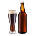 Beer in glass and bottle vector image