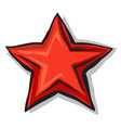 big cartoon red star with shadow and black contour vector image vector image