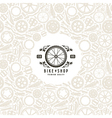 Bike shop label and frame with pattern vector image vector image