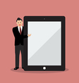 Businessman pointing to the screen of a tablet vector image vector image