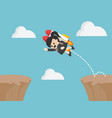 businesswoman jumps over rocky cliffs vector image vector image