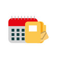 calendar with folder isolated icon vector image