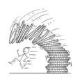 cartoon of man or businessman running away from vector image