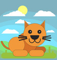 cat in cartoon flat style on the background of vector image vector image