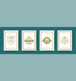 christmas cards set vintage typographic design vector image