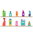 cleaning housework bottles with liquid cleaner vector image vector image