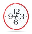 clock in red color with four number vector image vector image