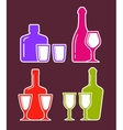colorful set with alcohol bottles and glasses vector image vector image