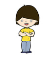 comic cartoon man with crossed arms vector image vector image