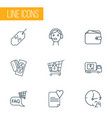commerce icons line style set with wallet vector image