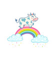 cow on rainbow vector image