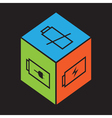 Cube with battery symbol vector image